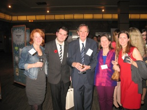 At TD Book Awards Gala with Carol MacDougall, Winston Stilwell (Fitzhenry publicist), editor Peter Carver, moi, Kathy Stinson's daughter, Kelly