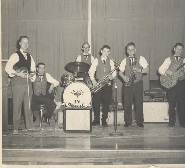 Old picture of Dad with Bob Mingo and the band